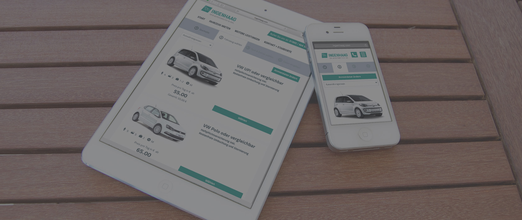 Tablet und Mobile Screen der Ingenhaag Autovermietung im neuen Corporate Design